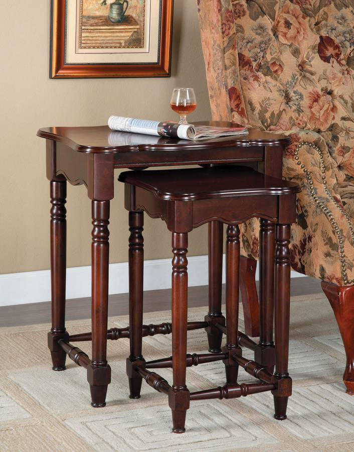Cheap Powell Brown Cherry 2-Pc. Nested Accent Tables