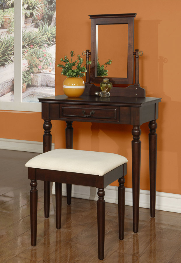 Powell Brown Cherry Vanity, Mirror and Bench