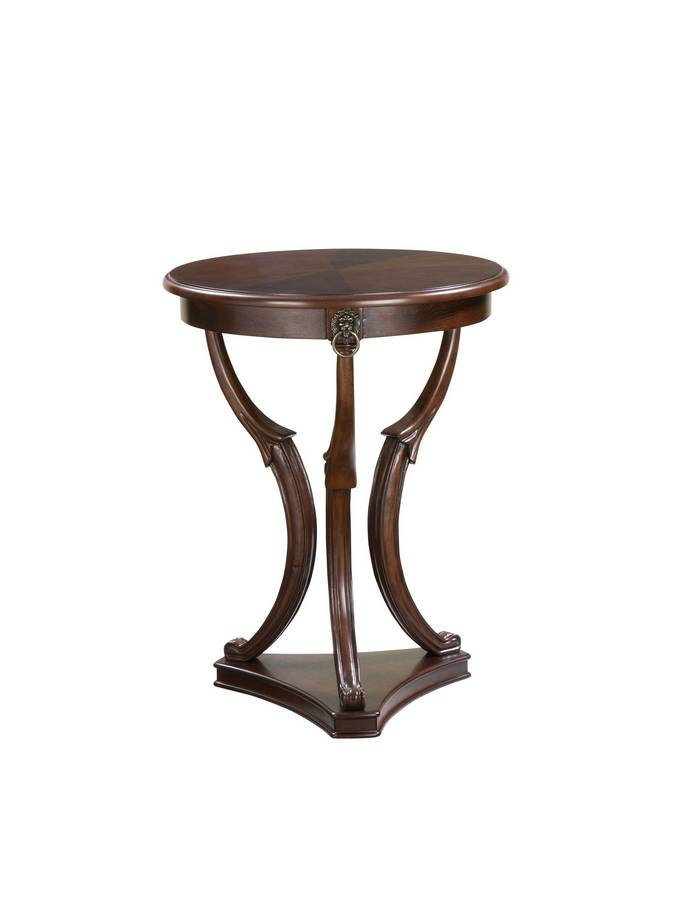 Cheap Powell Brown Cherry 3-Legged Accent Table