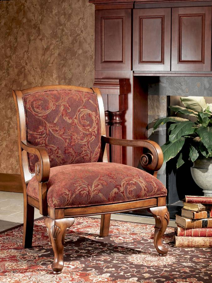 Powell Hopewell Chair with Burgundy Antique Tapestry Fabric