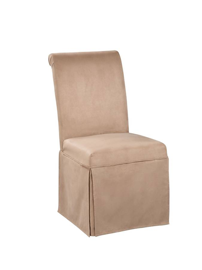 Powell Scroll Back Straight Skirt Parsons Chair in Sand Beige Microfiber