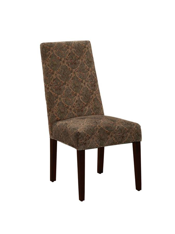 Powell Square Back Parsons Chair in Diamond Loop Pattern Floral Fabric with Deep Cherry Tapered Legs