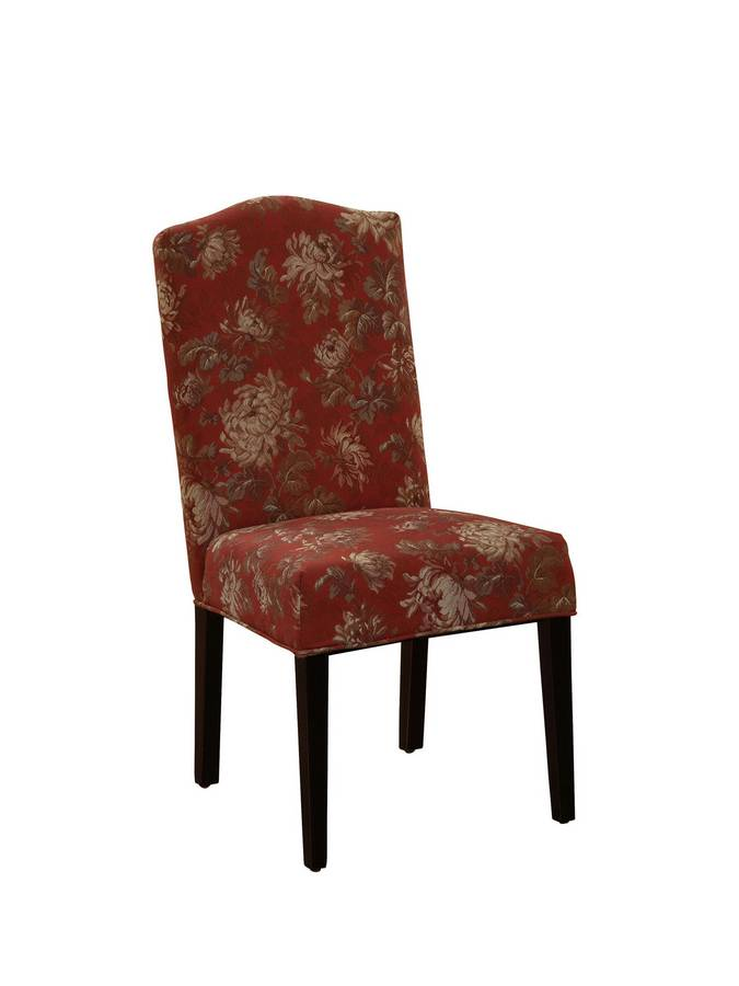 Powell Camel Back Parsons Chair in Floral Pattern with Cabernet Background Fabric with Deep Cherry Tapered Legs