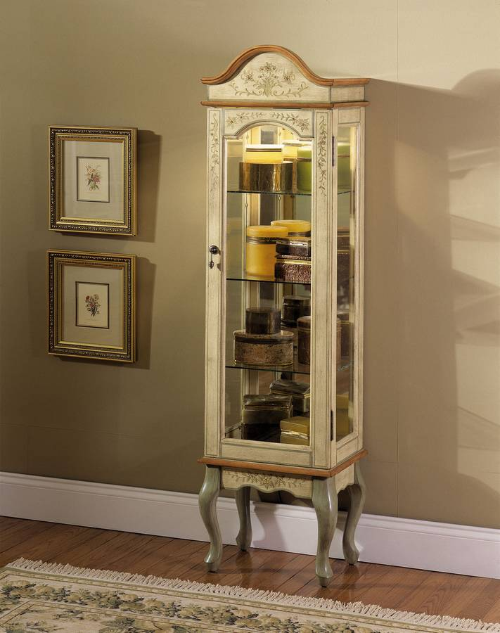 Powell English Garden Antique White and Sage Curio Cabinet - Powell English Garden Antique White And Sage Curio Cabinet PW-812