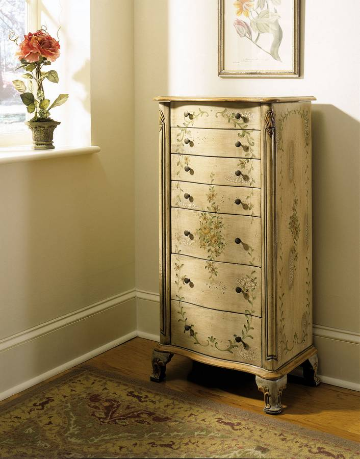 Powell English Garden Antique White and Sage Jewelry Armoire PW812