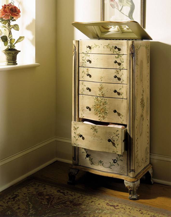 ANTIQUE WHITE JEWELRY ARMOIRE  ANTIQUE JEWELRY