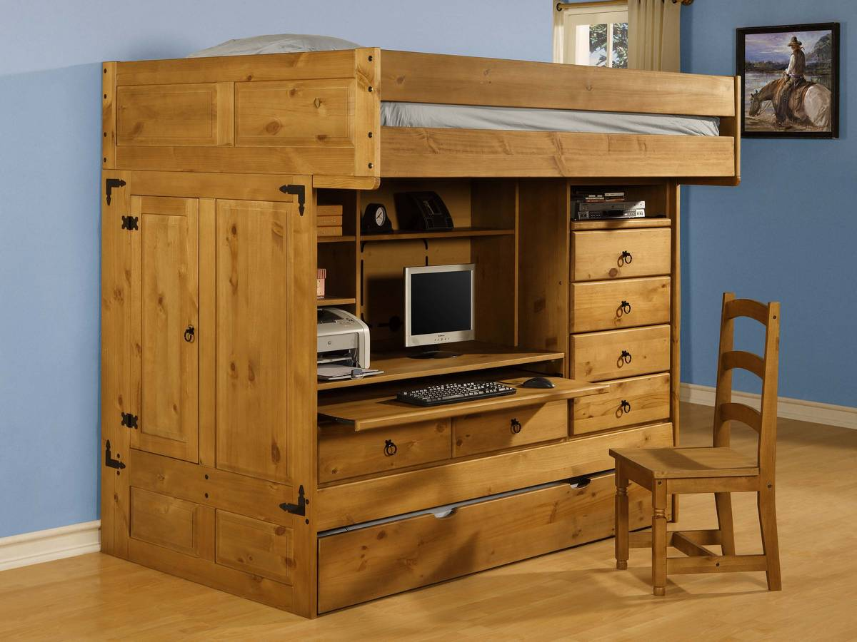 Powell rustica full over twin all in one bunk bed with - All in one double bed ...