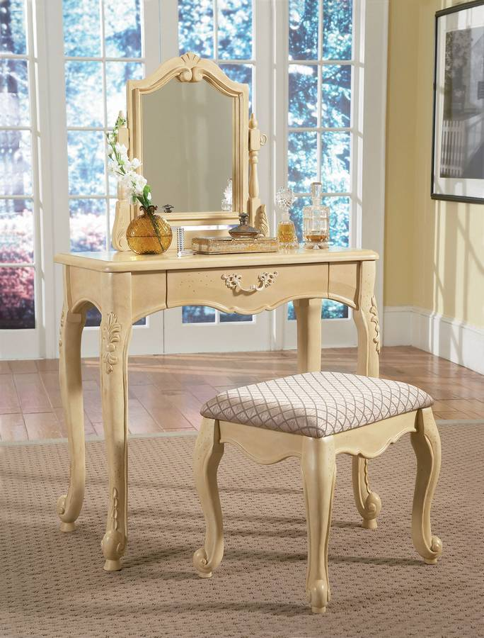 Powell Hills of Provence Antique White over Terra Cotta Vanity with Mirror and Bench