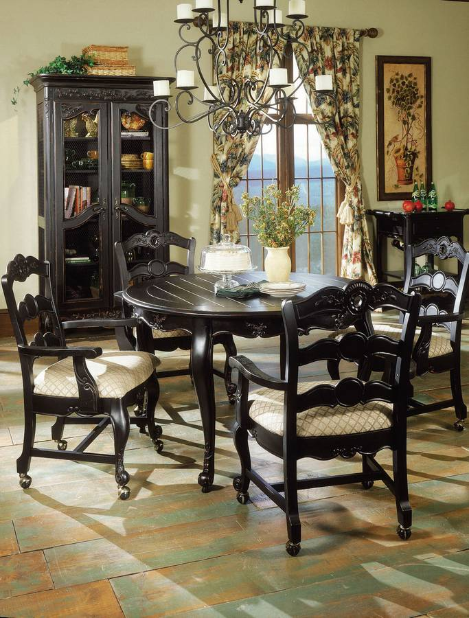 Powell Hills Of Provence Antique Black Dining Set