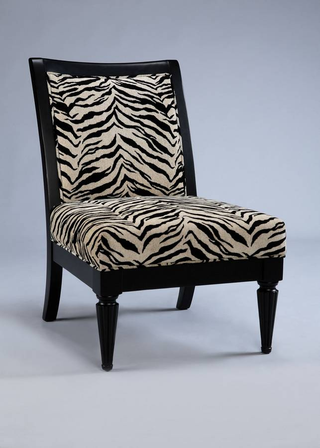Powell Metro Black Accent Chair with White-Onyx Tiger Striped Fabric
