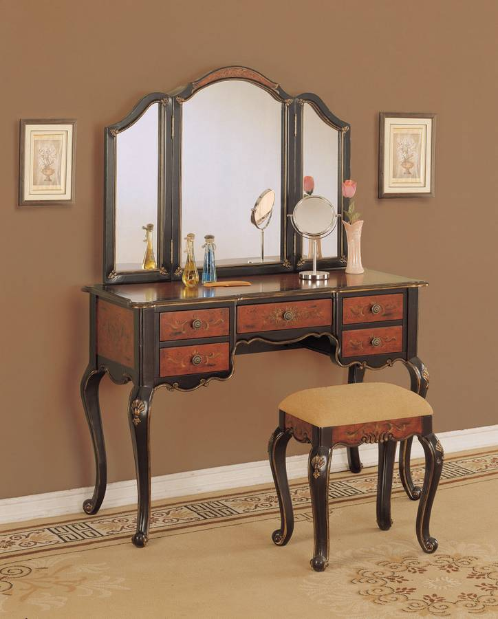 Powell Canton Black and Red Vanity Mirror and Bench