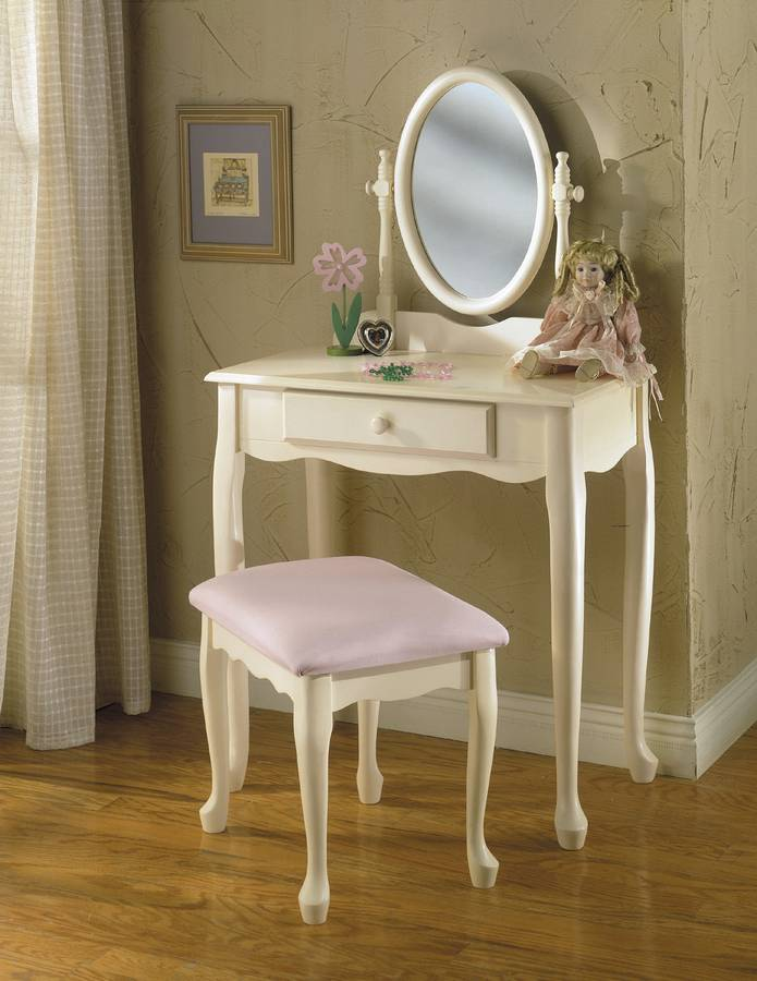 Powell Off-White Vanity Mirror and Bench