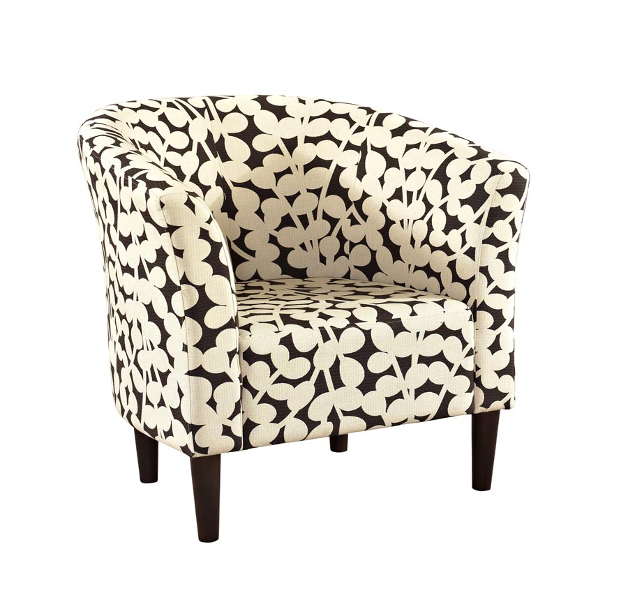 Powell Barrel Shaped Accent Chair with Brown Modern Floral Fabric and Merlot Legs