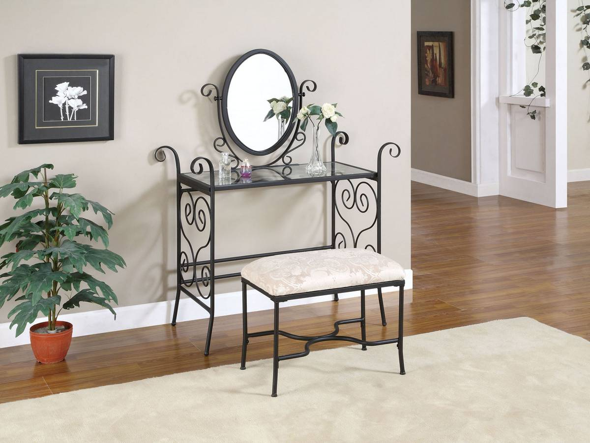 Powell Garden District Matte Black Vanity Mirror and Bench