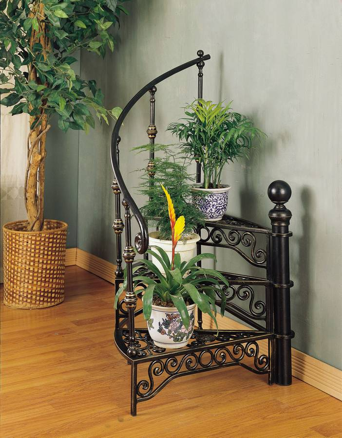 Powell Garden District Black Gold Stairway Plant Stand