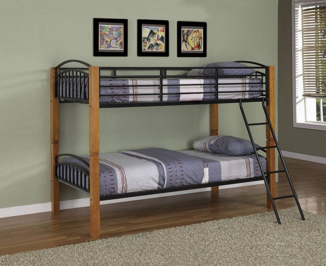 Cheap Powell Country Pine and Matte Black Twin-Twin Bunk Bed