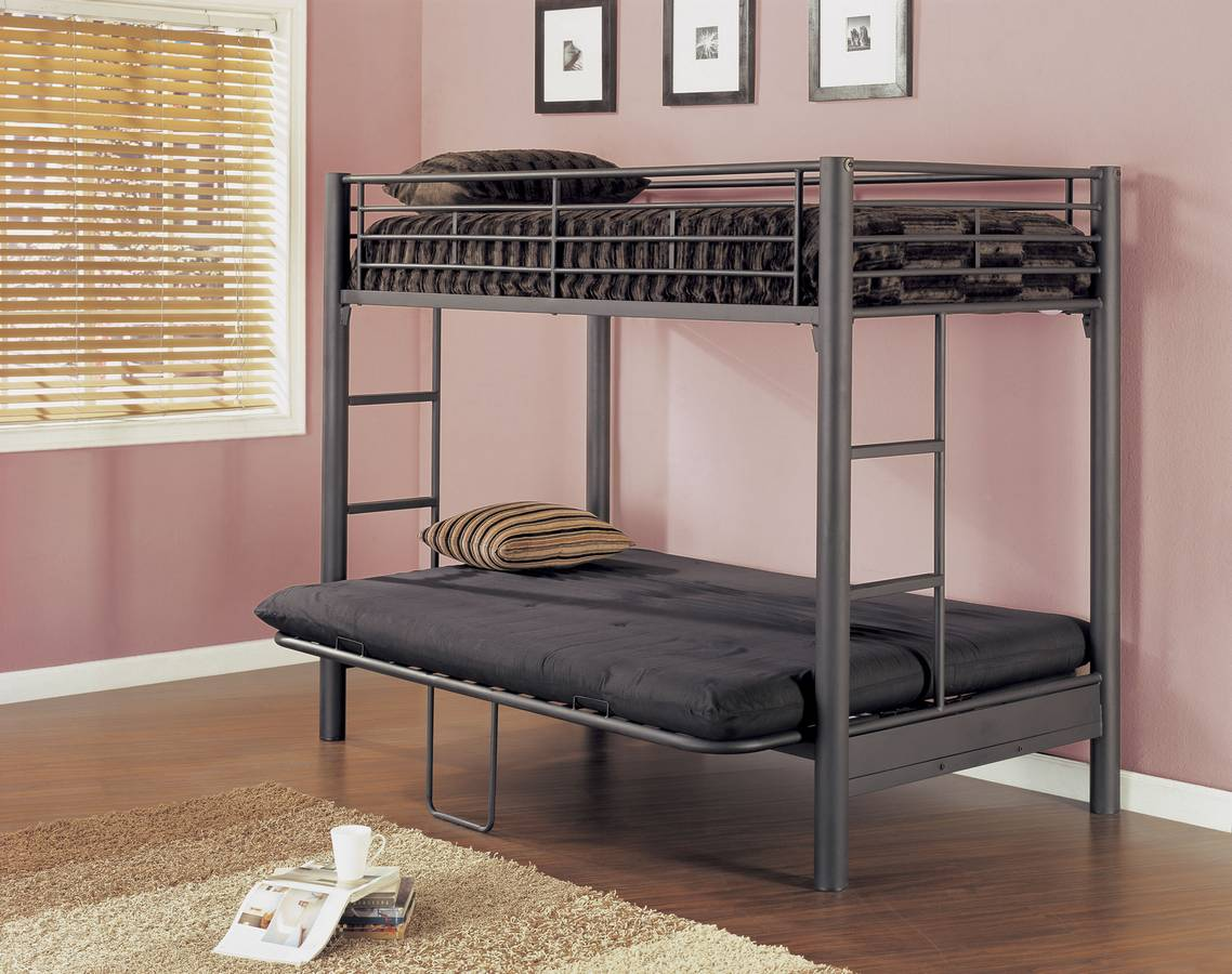 Cheap Powell 3 Matte Black Textured Twin-Futon Bunk Bed