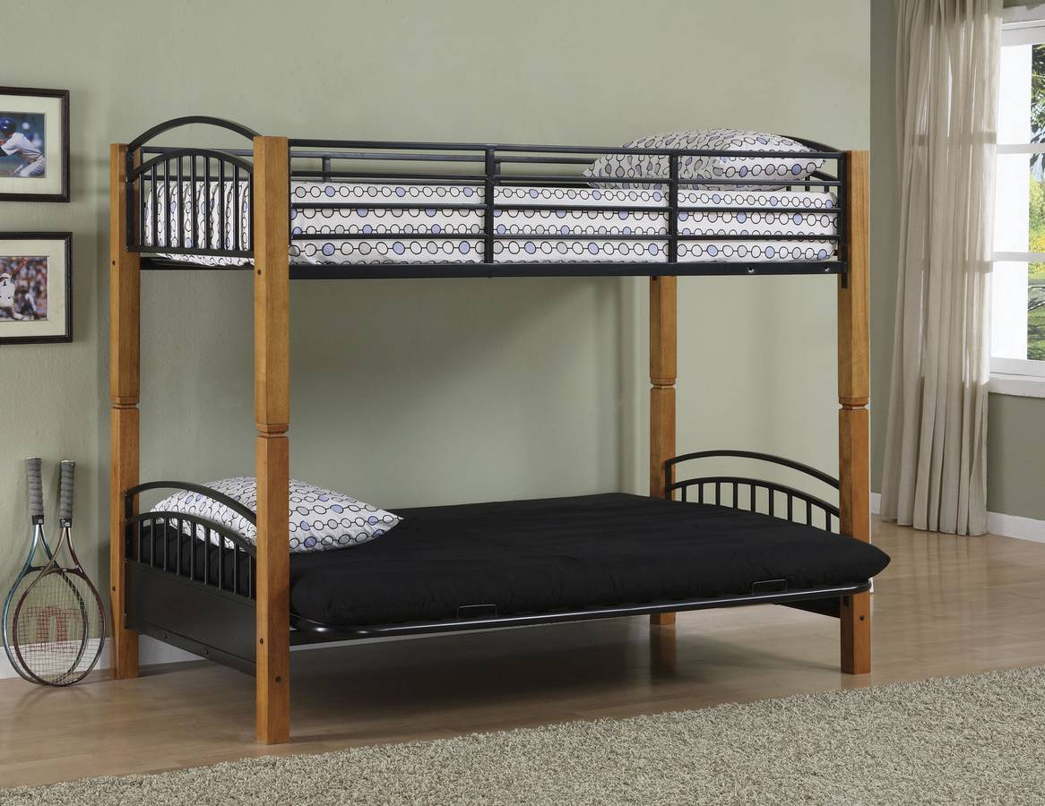 Cheap Powell Country Pine and Matte Black Twin-Futon Bunk Bed
