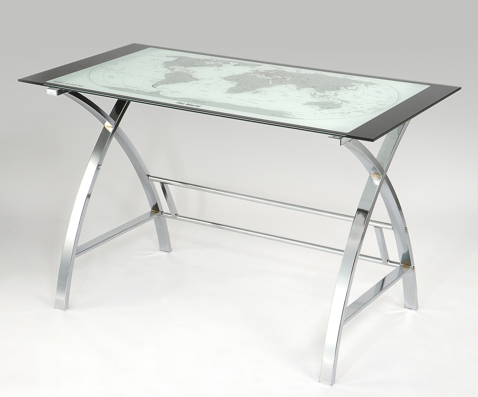 Powell World Map Printing Curved X-Sided Computer Desk