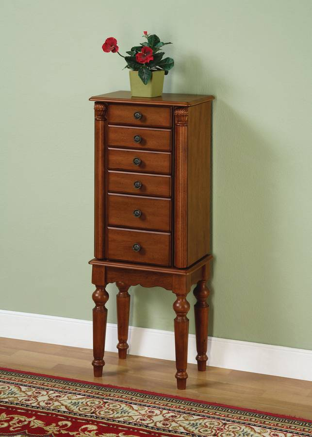 Powell Lightly Distressed Deep Cherry Jewelry Armoire