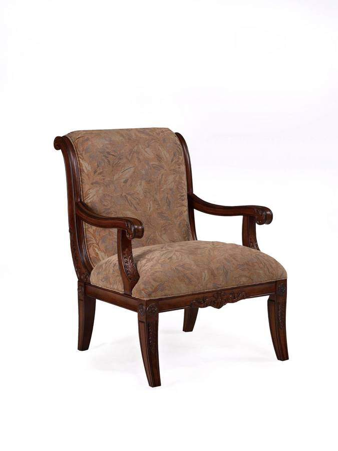 Powell Alexandria Scroll Back Accent Chair with Leaf Pattern Fabric