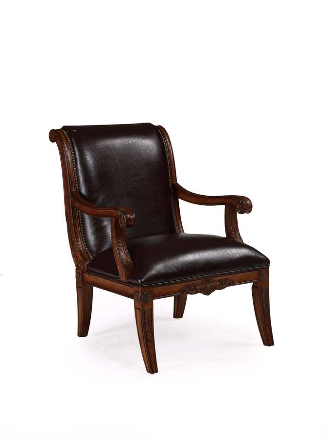 Cheap Powell Alexandria Scroll Back Accent Chair with Deep Brown Leather