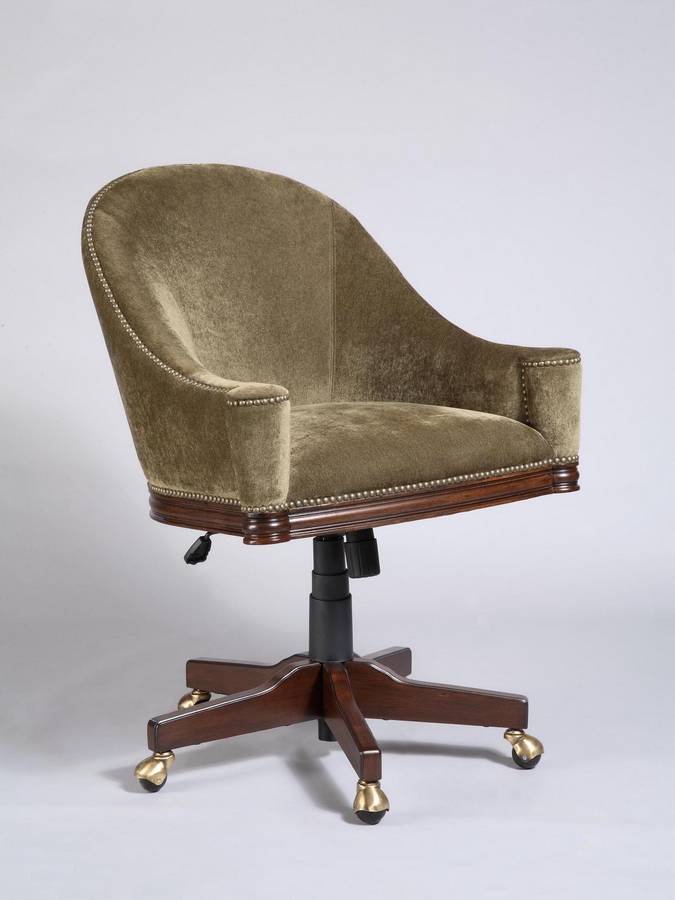 Powell Brussells Swivel-Tilt Barrel Back Chair with Moss Green Fabric and Nailhead Trim