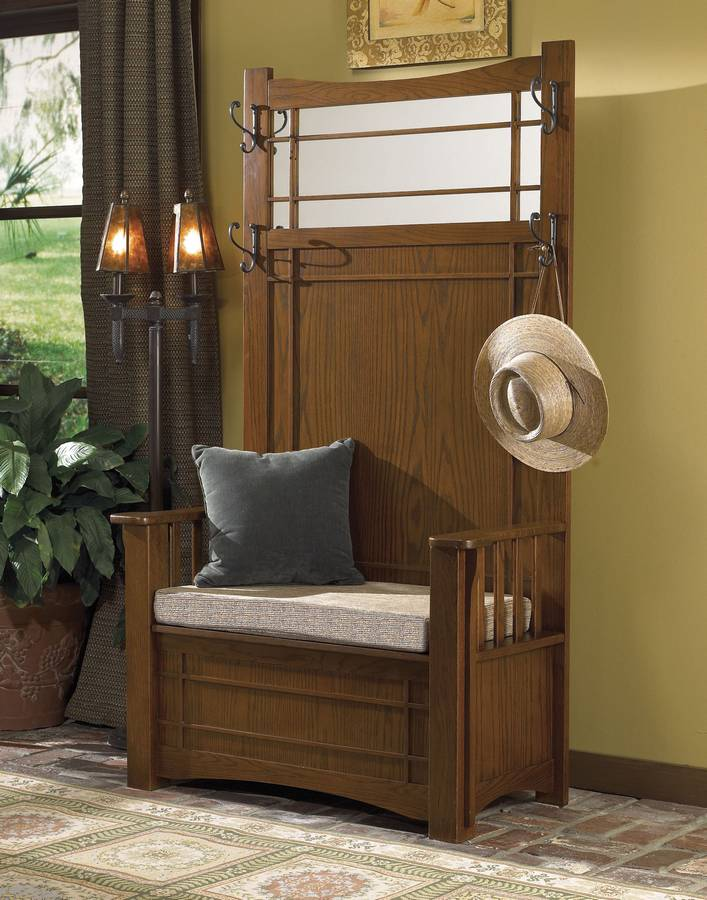 Powell Mission Oak Hall Tree With Storage Bench Pw 993 259