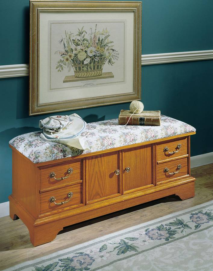 Cheap Powell Nostalgic Oak Cedar Chest with Floral Tapestry Upholstered Seat