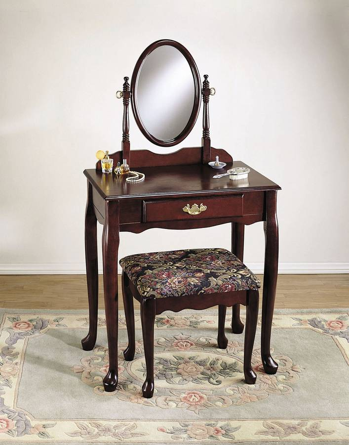 Powell Heirloom Cherry Vanity Mirror and Bench (G)