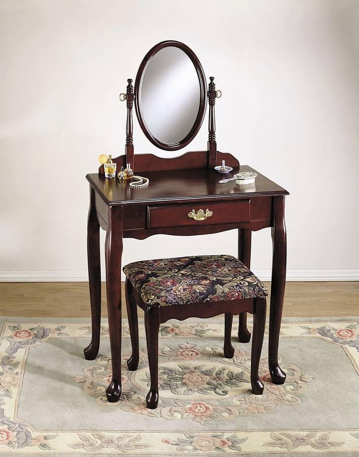 Powell c52 heirloom cherry vanity mirror and bench for Bedroom vanity with mirror and bench