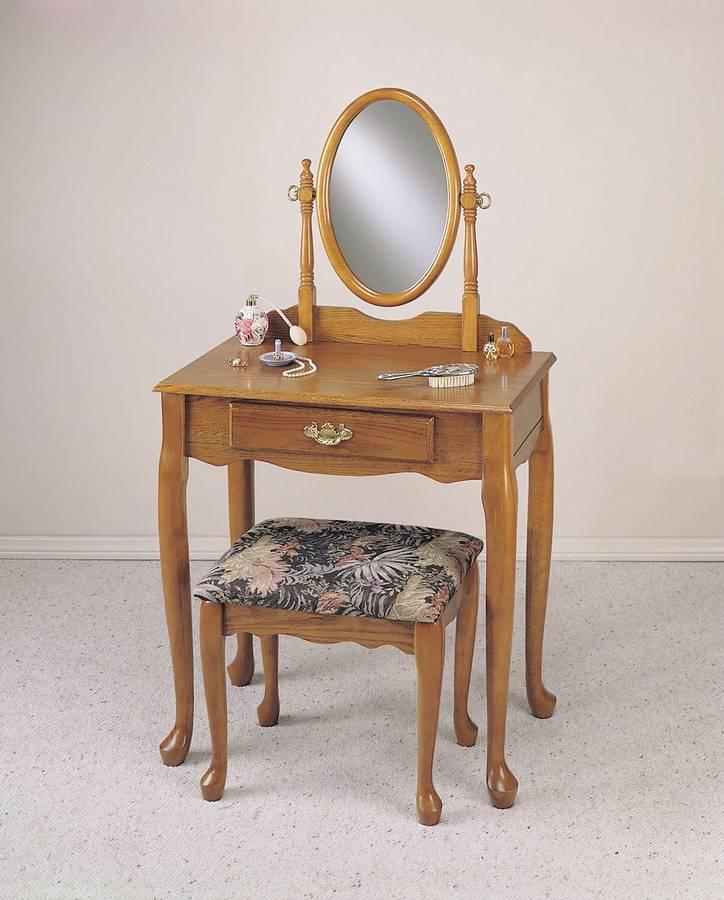 Cheap Powell Nostalgic Oak Vanity Mirror and Bench  (G)