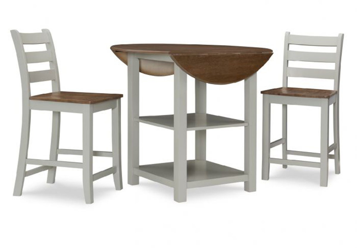 Powell Colm 3PC Counter Set - Silver Birch/Wire brushed Oak