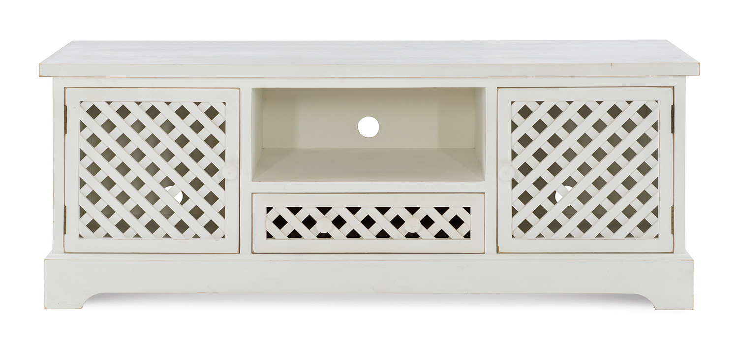 Powell Delaney TV Cabinet - Distressed White