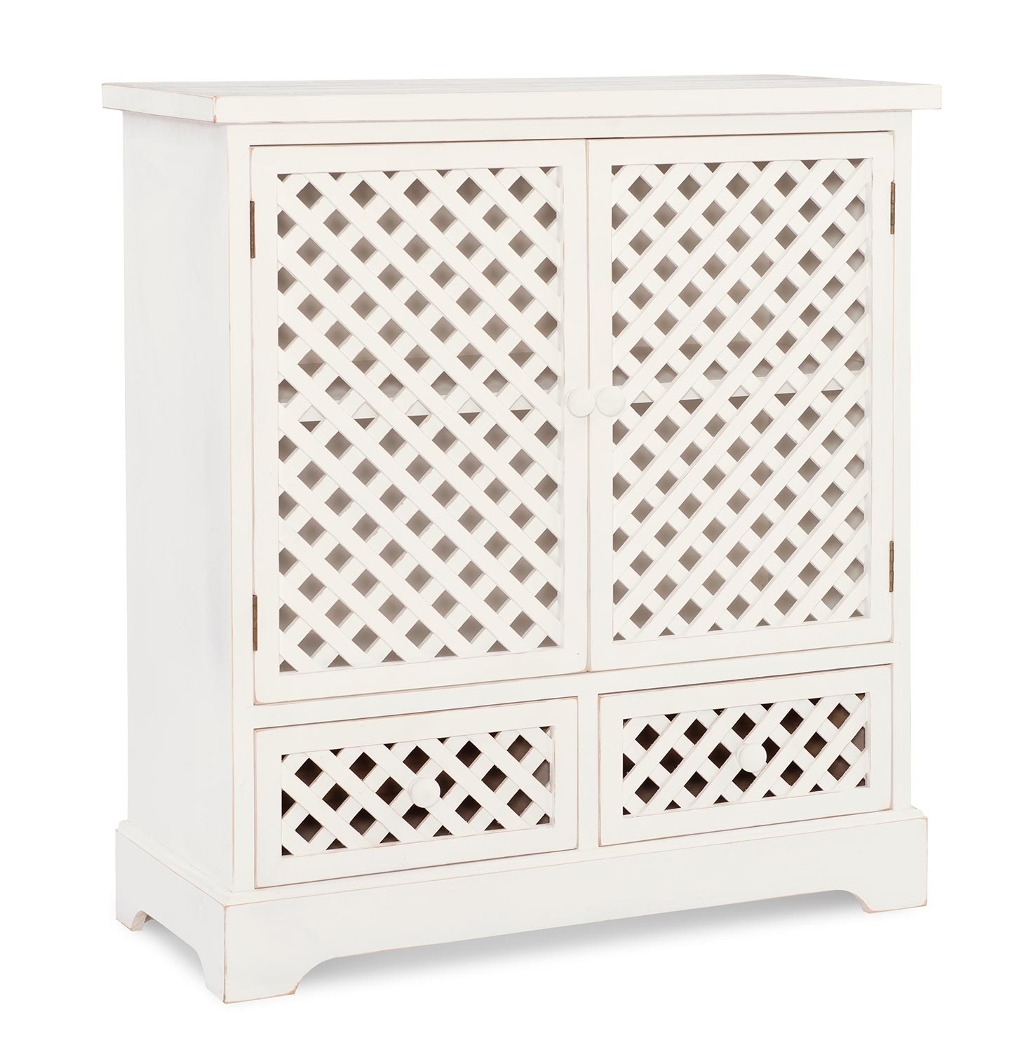 Powell Delaney 2-Door 2-Drawer Cabinet - Distressed White