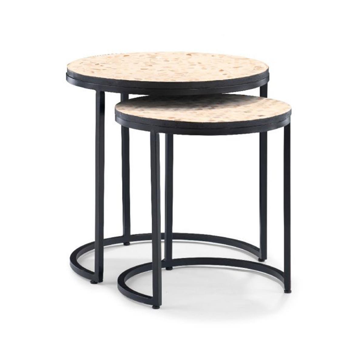 Powell Dutson Nesting Tables - Black/Natural wood mosaic