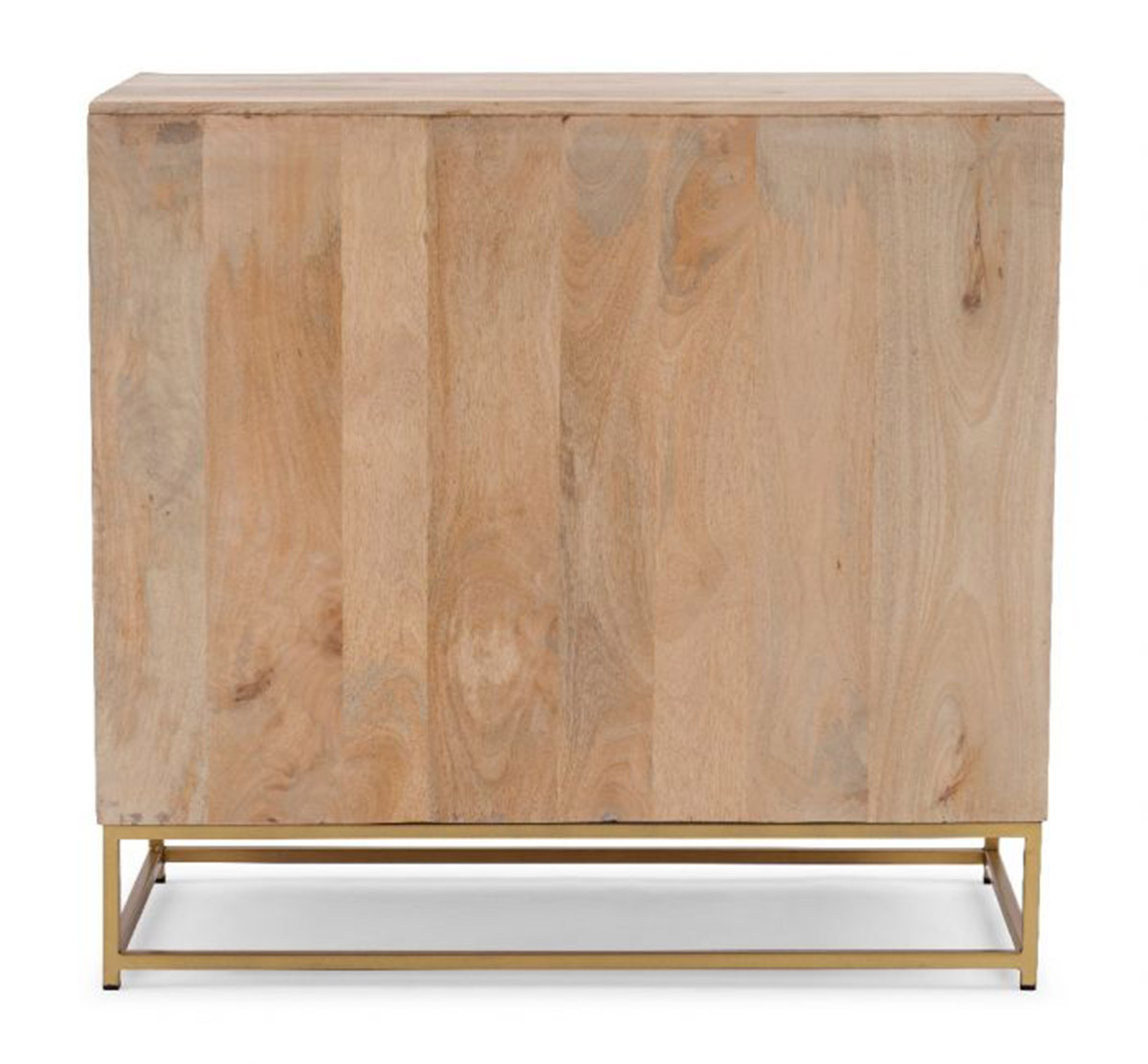Powell Janie Rattan 2-Sliding Doors Cabinet - Natural and Gold