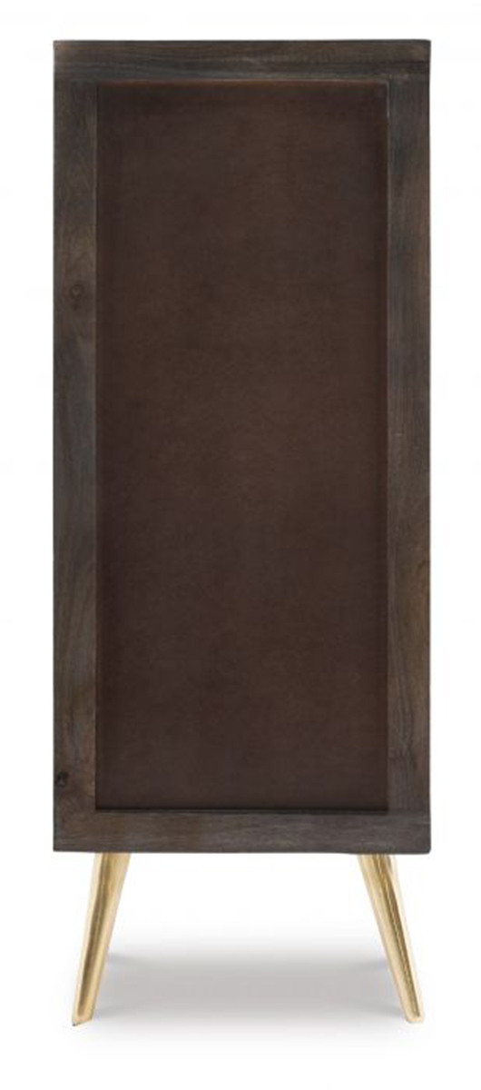 Powell Quinn 5-Drawer Cabinet - Smokey Grey/Gold