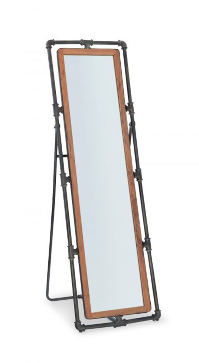 Powell Metcalf Pipe Cheval Mirror - Natural and Gun Metal