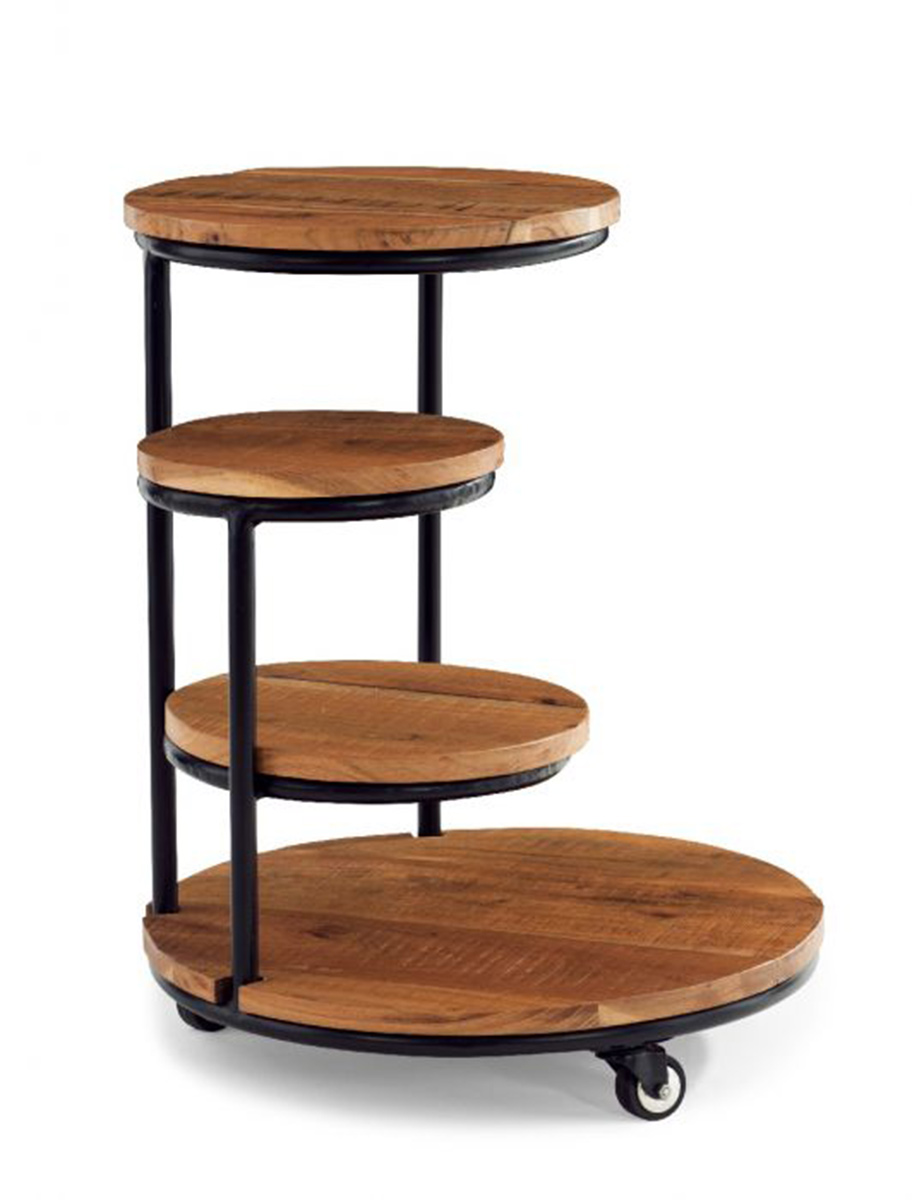 Powell Collis 4-Tiered Plant Stand Wheels - Natural and Black
