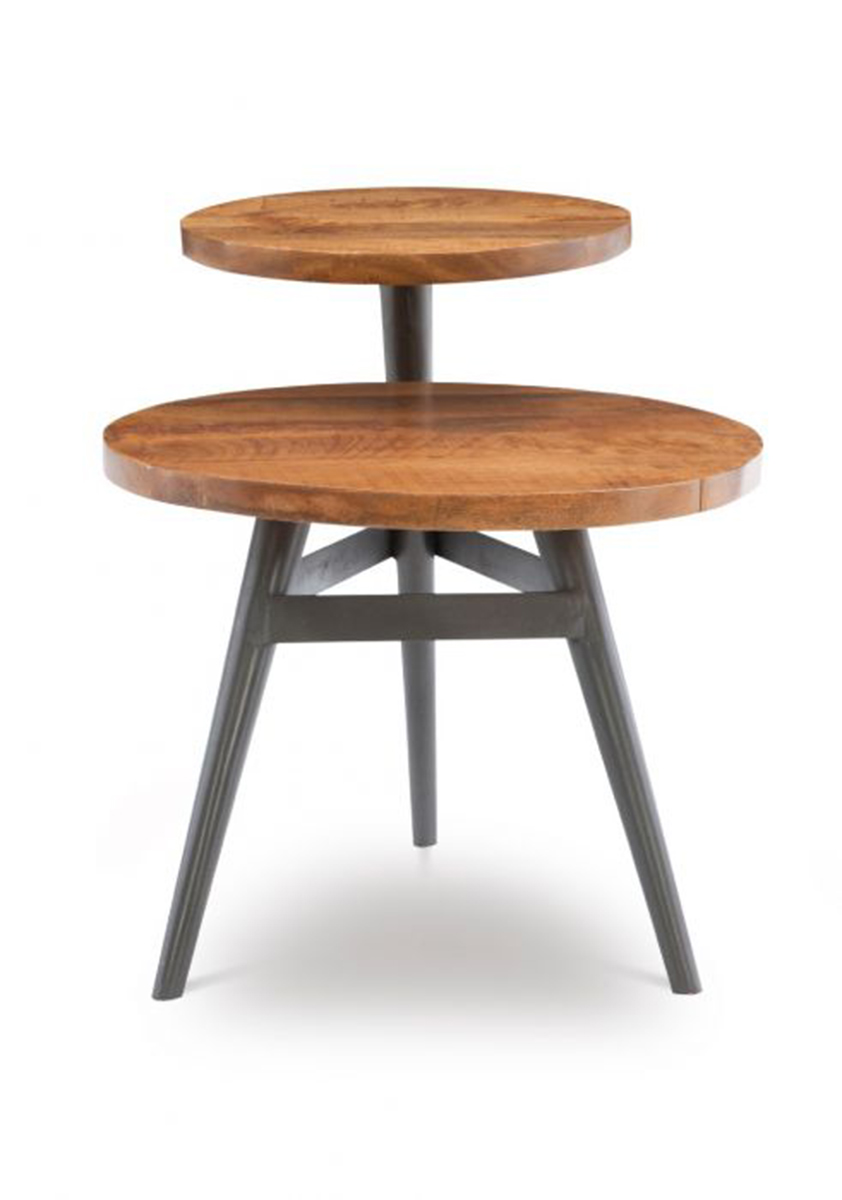 Powell Collis 2-Tiered Side Table - Natural and Gun Metal