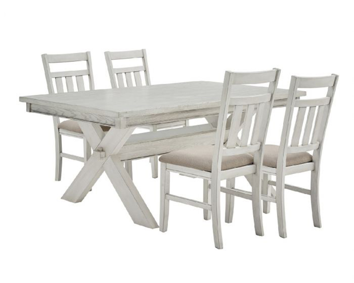 Powell Turino 5PC Dining Set - Distressed White