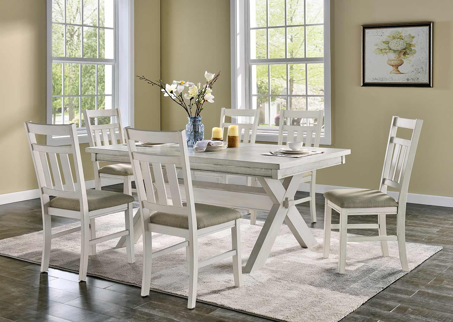 Powell Turino 7PC Dining Set - Distressed White