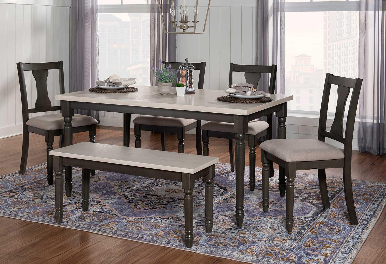Powell Willow 6-Piece Dining Set - Grey
