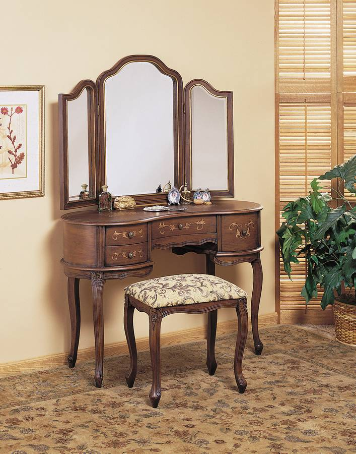 Powell Toscana Antique Caramel Hand Painted Vanity Mirror and Bench