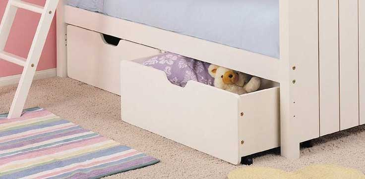 Powell Cape Cod Satin White Set of 2 Under Bed Storage Drawers
