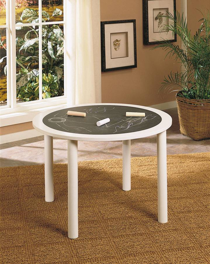 Cheap Powell White Round Chalkboard Table