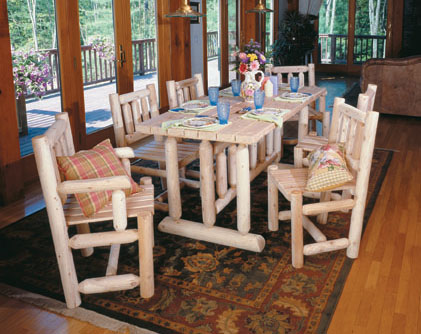 Rustic Cedar Cedar Looks Harvest Family Dining Table Set