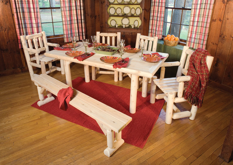 Rustic Cedar Cedar Looks Solid Top Dining Table Set