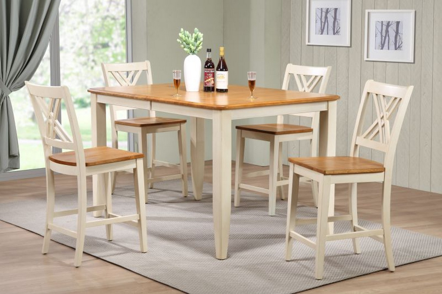 Iconic Furniture RT67 Caramel/Biscotti Double X- Back Counter Height Dining Set